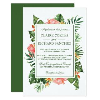 Tropical Flowers and Leaves Wedding Invitations