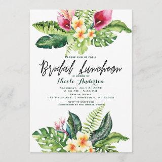 Tropical Flowers & Leaves Floral Bridal Luncheon Invitation