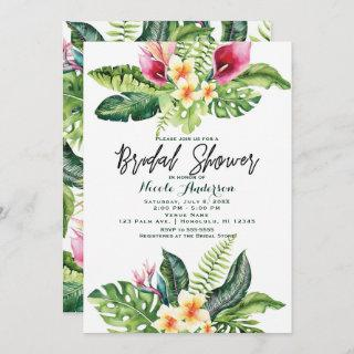 Tropical Flowers & Leaves Floral Bridal Shower Invitations