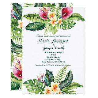 Tropical Flowers Leaves Floral Wedding Invitations