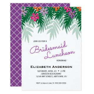 Tropical Flowers & Palm Branch Bridesmaid Luncheon Invitation