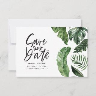 Tropical foliage and hand lettering wedding