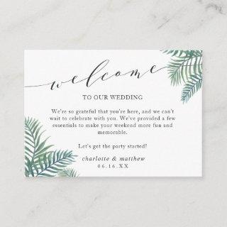 Tropical Foliage Wedding Welcome Cards