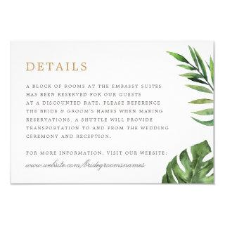 Tropical Gold Geometric Frame Wedding Details Invitation