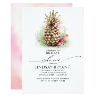 Tropical Gold Pineapple Beach Floral Bridal Shower Invitations