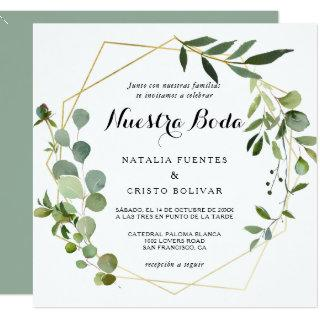 Tropical Green Leaves Spanish Wedding Invitations