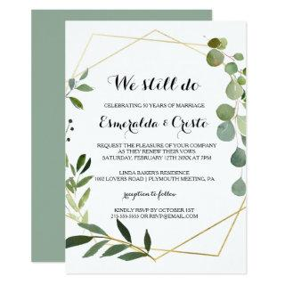 Tropical Green Leaves Vow Renewal Invitations