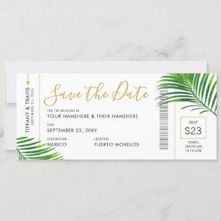 Tropical Green Palm Boarding Pass Save Date Card