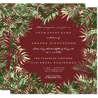 Tropical Green Palm Leaf Frame Red Bean Sepia Gold Invitations
