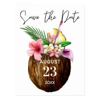 Tropical Hawaiian Floral & Coconut Save the Date Postcard