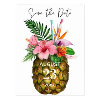 Tropical Hawaiian Floral & Pineapple Save the Date Postcard