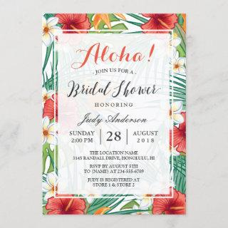 Tropical Hawaiian Hibiscus Aloha Bridal Shower Invitation