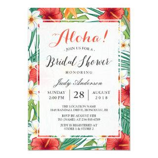 Tropical Hawaiian Hibiscus Aloha Bridal Shower Invitations