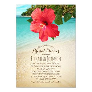 Tropical Hibiscus Beach Themed Bridal Shower Invitation