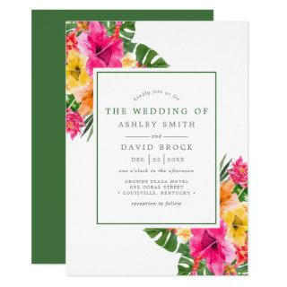 Tropical Hibiscus Floral Palm Leaves Wedding Invitations