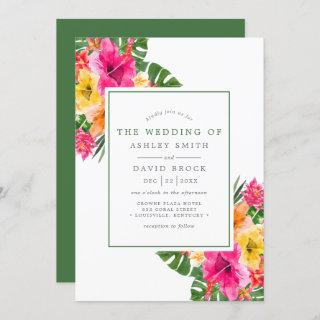 Tropical Hibiscus Floral Palm Leaves Wedding