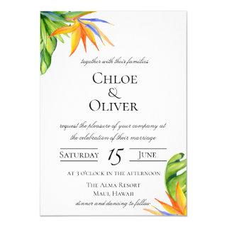 Tropical Island Botanical Wedding Invitations