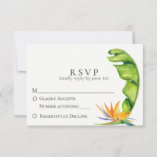 Tropical Island Botanical Wedding RSVP