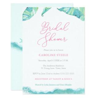 Tropical Island Bridal Shower Aqua and Fuchsia Invitation