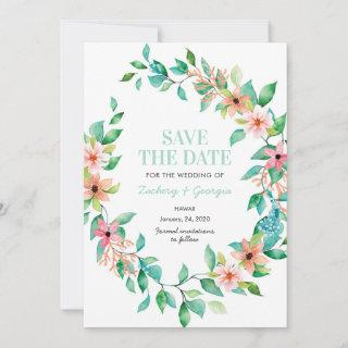 Tropical Island Save the date wedding invitations