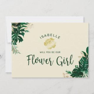 Tropical Leaves Be Our Flower Girl Proposal Card