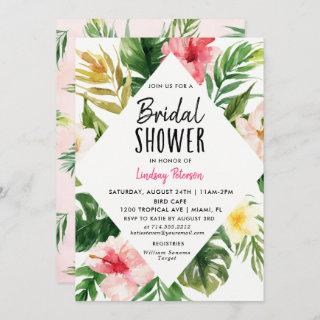 Tropical Leaves Bridal Shower Invitations Card