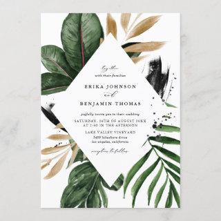 Tropical Leaves Faux Gold Foil Frame Wedding Invitations