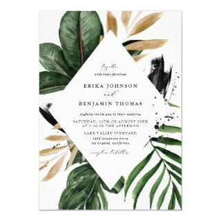 Tropical Leaves Faux Gold Foil Frame Wedding Invitation