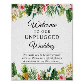 Tropical Leaves Floral Unplugged Wedding Sign