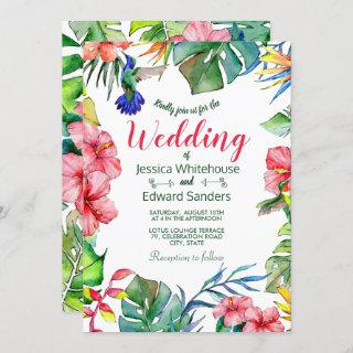 Tropical Leaves Hibiscus Hawaiian Luau Wedding Invitations