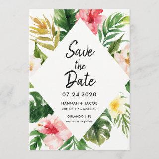 Tropical Leaves Luau Wedding Save The Dates Cards