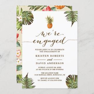 Tropical Leaves Pineapple Beach Engagement Party Invitation