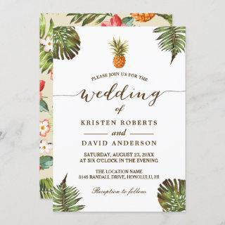 Tropical Leaves Pineapple Hawaiian Luau Wedding Invitations