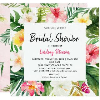 Tropical Leaves Square Bridal Shower Invitation