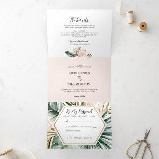 Tropical Leaves Wedding Photo with RSVP Details Tri-Fold Invitations