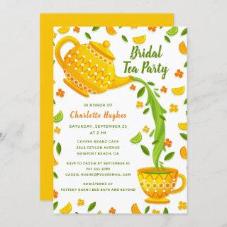 Tropical Lemons And Limes Bridal Tea Party Invitation