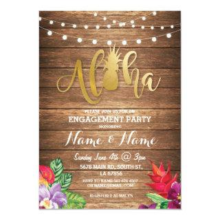 Tropical Luau Aloha Floral Engagement Party Invite