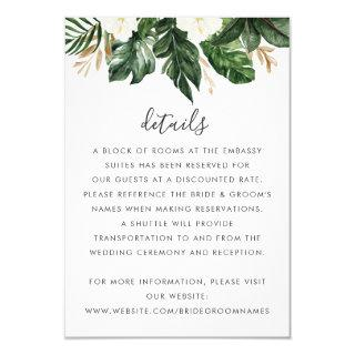Tropical Modern Palm Cactus White Floral Details Invitations