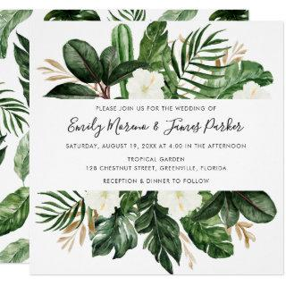 Tropical Modern Palm Cactus White Floral Invitation