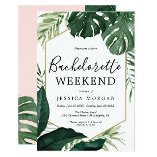 Tropical Monstera Bachelorette Party Invite Card