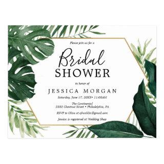 Tropical Monstera Bridal Shower Invitation Postcard