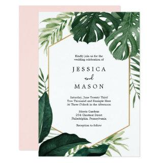 Tropical Monstera Wedding Invitation