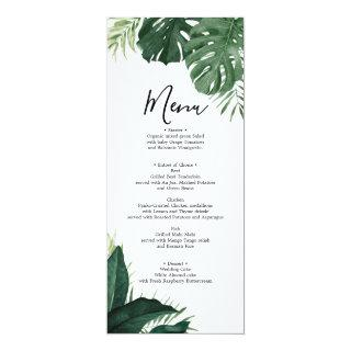 Tropical Monstera Wedding Menu or Bridal Shower Invitations