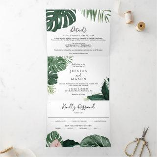 Tropical Monstera Wedding Tri-Fold Invitations