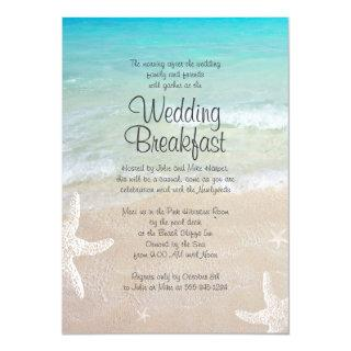 Tropical Ocean Beach Wedding Breakfast Invitations