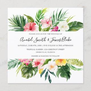 Tropical Palm Banana Leaves Floral Wedding Invitations