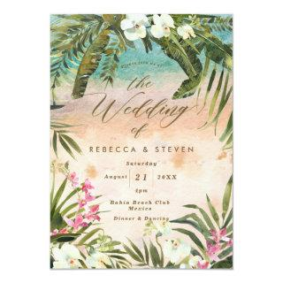 tropical palm leaf beach destination wedding Invitations