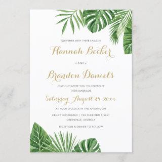 Tropical Palm Leaf Beach Wedding Invitation