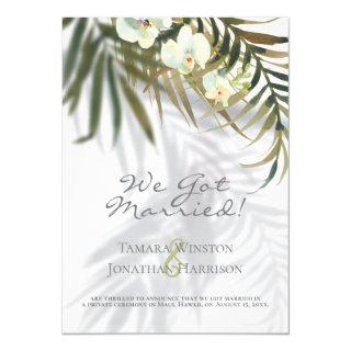 Tropical Palm & Orchid Shadows Beach Just Married Invitations