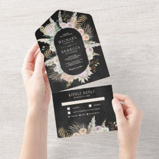 Tropical Palm Pampas Grass Floral Black Wedding All In One Invitations